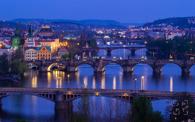 Bridges over the Vltava river at night, Prague