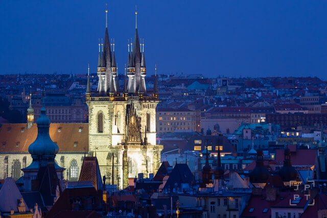 Church of Our Lady Before Tyn at night, Prague
