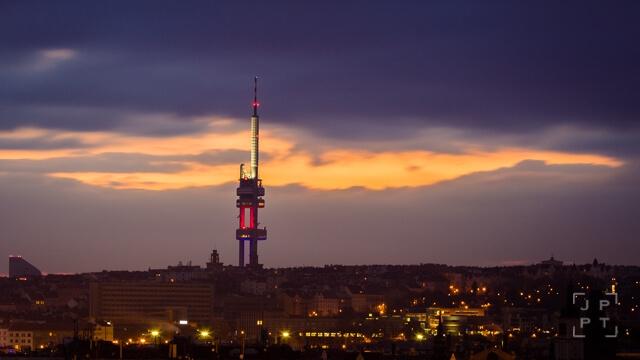 Žižkov TV tower at sunrise, Prague