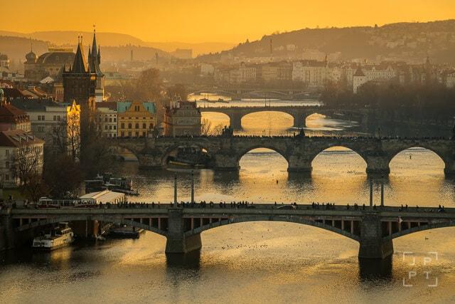 Bridges over the Vltava river at sunset, Prague