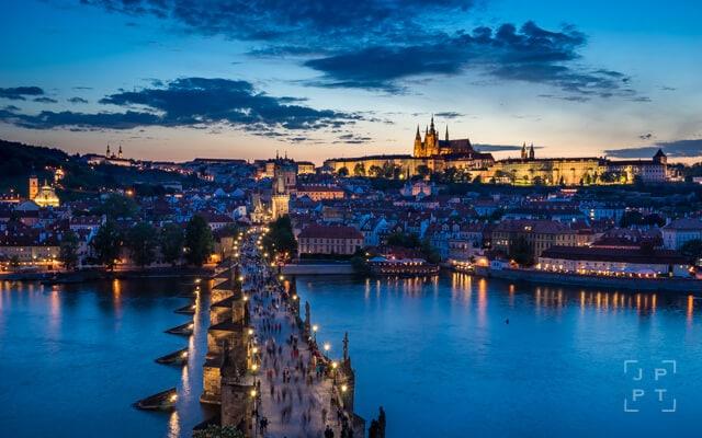 Prague skyline with Charles bridge and Prague castle at twilight, Czech Republic