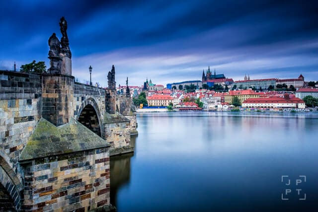 View of Charles bridge and Prague castle