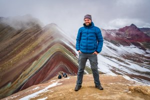 Jan on top of Rainbow Mountain, Peru