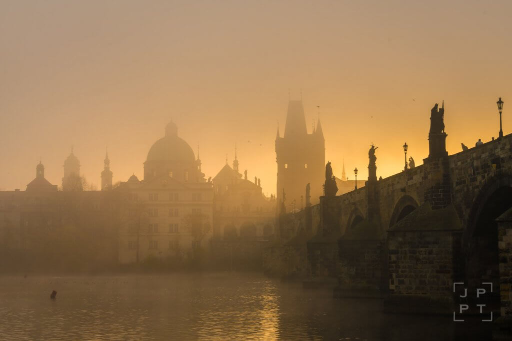 Charles bridge in fog, Prague
