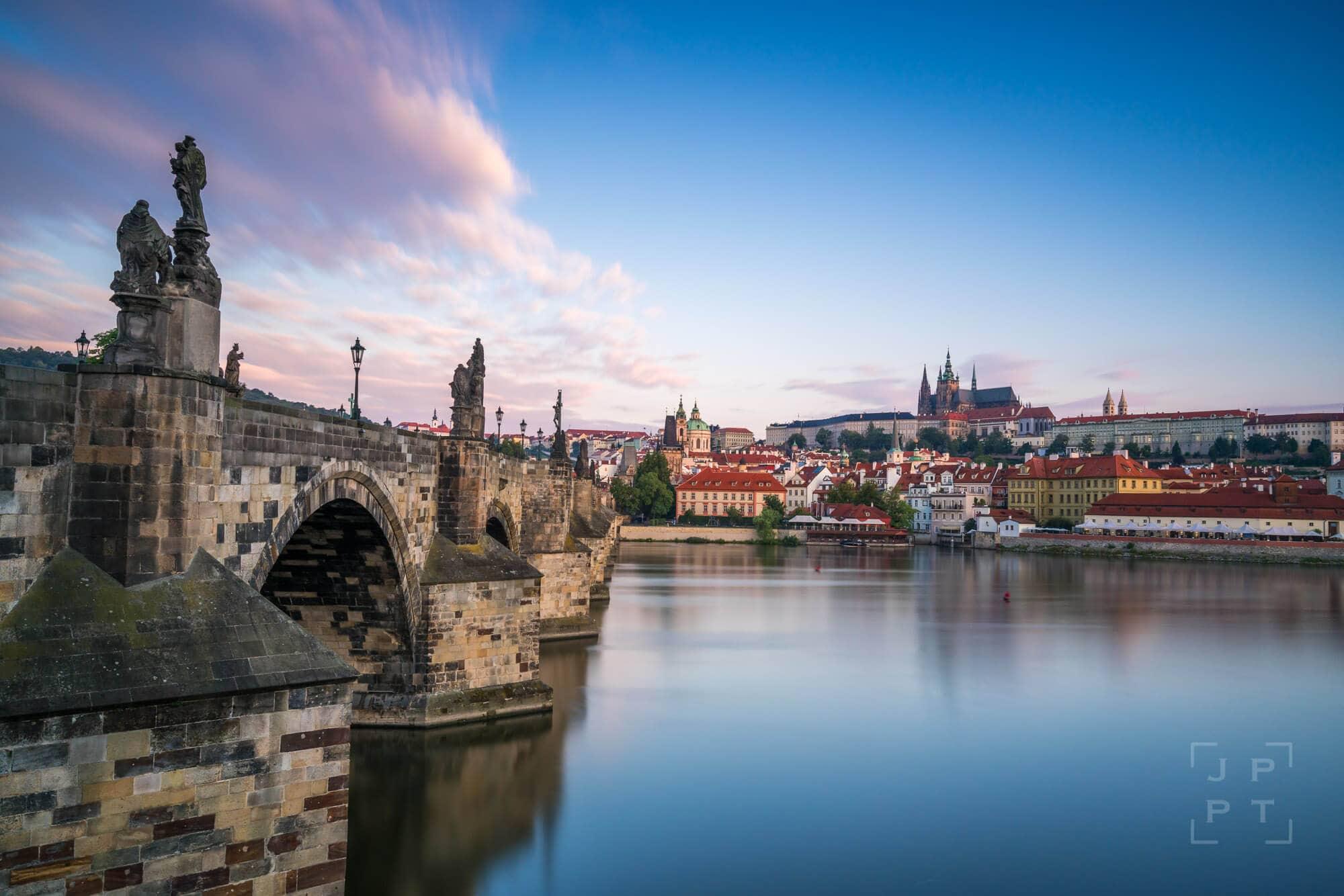Charles bridge and Prague castle at sunrise