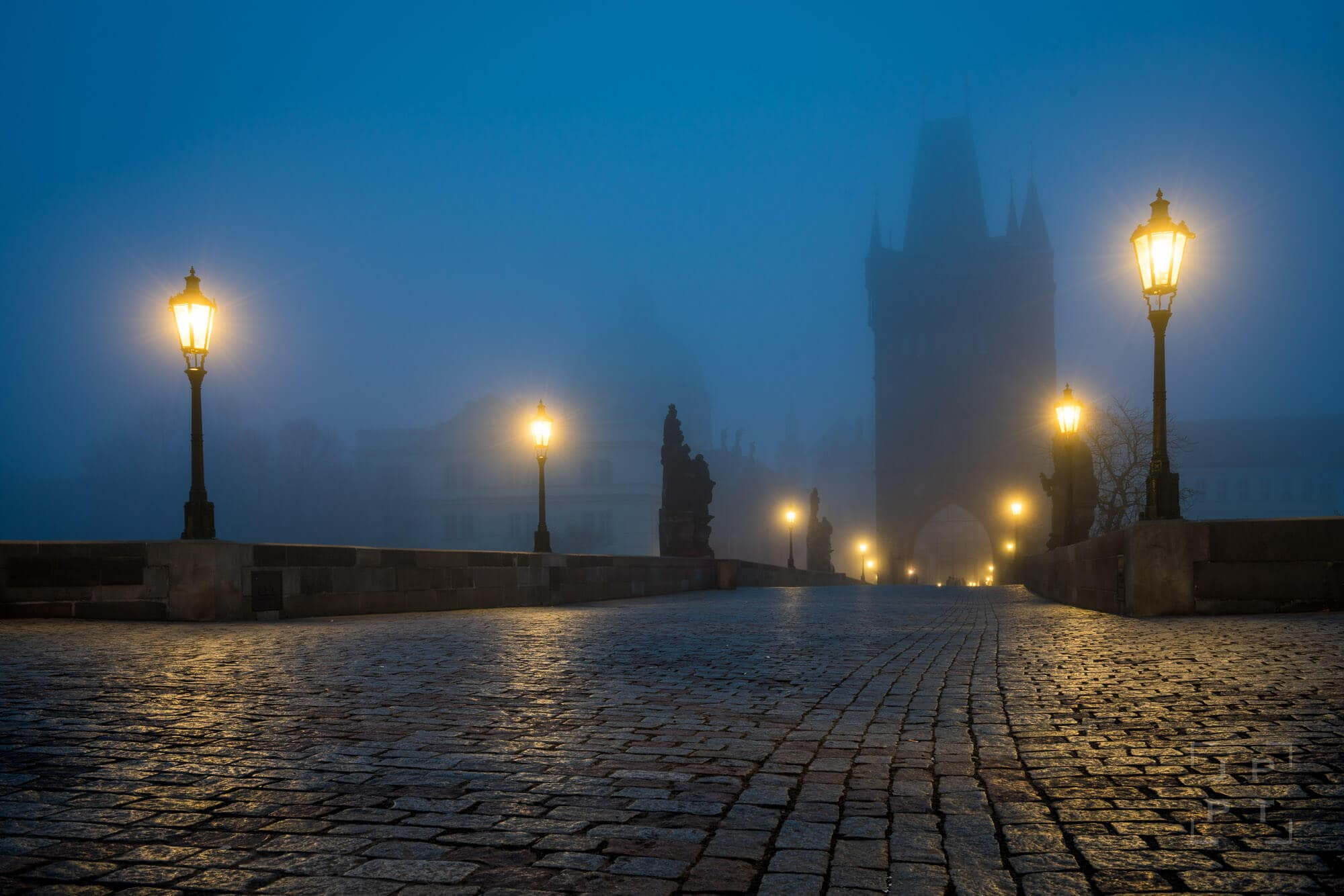 Charles bridge with fog at night, Prague
